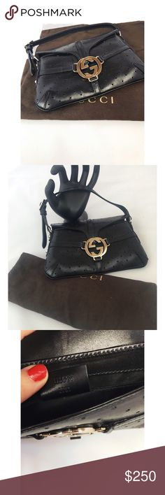 """Mini Gucci Handbag Serial number: 115025 17812                                MEASUREMENTS: BAG HEIGHT: 4.75"""" BAG LENGTH: 7.75"""" STRAP DROP: 3.5"""" DEPTH: 2""""  in perfect condition like new. Black perforated leather silver hardware. Perfect evening bad. Gucci Bags Mini Bags"""