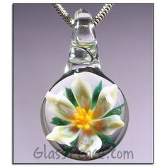 SALE Glass Flower Pendant - Hand Blown Glass Jewelry by Glass Peace $15.00