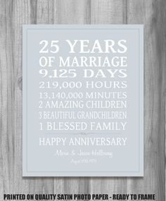 SILVER Anniversary Gift Personalized Our Life Story Stats Marriage Subway Sign Print UNIQUE GIFT Custom Colors Want To Get My Parents One Of These But
