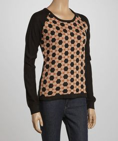 Take a look at this Black Geometric Long-Sleeve Top by YAL on #zulily today!