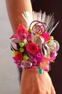 Fun and funky prom corsage with zebra ribbon!! from: Frequently Asked Prom Corsage Questions — ANSWERED!