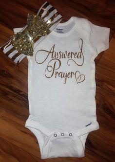 Answered Prayer Gold Sparkle baby girl onesie,going home outfit,newborn bodysuit,baby shower gift,spar
