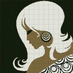 0 point de croix profil de femme seventies - cross stitch cameo, profile lady seventies