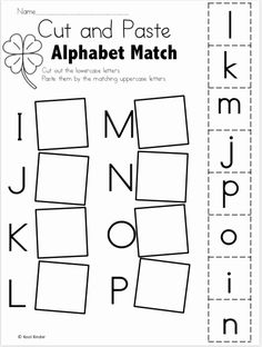 Alphabet Match I to P - Free Worksheets Cut and paste the matching uppercase and lowercase letters. More Alphabet Match Worksheets Alphabet Match A to… Preschool Letters, Letter Activities, Preschool Learning Activities, Free Preschool, Preschool Lessons, Kindergarten Worksheets, Preschool Homework, Preschool Fall Crafts, Kindergarten Readiness
