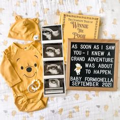 Cute Baby Announcements, Creative Pregnancy Announcement, Baby Announcement Pictures, Disney Pregnancy Announcement, Baby Life Hacks, Baby Planning, Baby Memories, Junior, Everything Baby