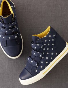 Kids Printed Canvas High Tops from Boden. I might have to find a way to get these to fit my feet.