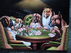 Large Size Dogs Playing poker black velvet original oil painting hand painted signed art 24 by 36 inches large size