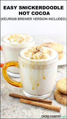 Keurig® K-Cup® Coffee Recipes Easy Snickerdoodle Hot Cocoa recipe. This AMAZING hot chocolate can be made with a crockpot for a group or with a Keurig. Hot Cocoa Recipe, Cocoa Recipes, Coffee Recipes, Keurig Recipes, Hot Chocolate Bars, Hot Chocolate Recipes, Polar Express Hot Chocolate Recipe, Snickerdoodle Hot Chocolate Recipe, Hot Chocolate Coffee