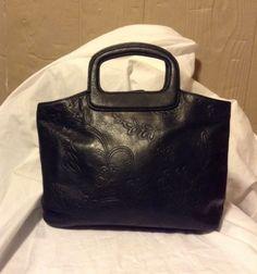 Vintage Fossil Handbag Black Leather With Floral Design