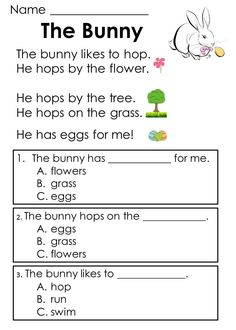 Worksheets Reading Comprehension For Kids Exercises kindergarten reading comprehension passages set 1 freebie easter designed to help kids develop skills early in the process