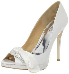 Badgley Mischka Women's Gylda Peep-Toe Pump: You'll feel as if you're in a dream when the Gylda is slipped on. This Badgley Mischka pump delivers a divine white satin upper with a beautiful brooch and ribbon detail at the peep toe vamp. A 4 1/2 inch covered stiletto and 1/2 inch platform wrap up this breathtaking look. $239.99