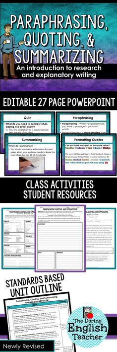 Teach your secondary students how to paraphrase, summarize, and quote with this engaging resource.