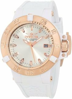 Invicta Women's 10131 Subaqua Noma III White Watch Invicta. $160.65. Water-resistant to 200 M (660 feet). Silver white dial with rose gold tone and white hands and hour markers; luminous; unidirectional 18k rose gold ion-plated plastic bezel with white plastic riders; screw-down 18k rose gold ion-plated stainless steel crown with protective clasp. Date function. Swiss quartz movement. Flame-fusion crystal; white plastic case; white silicone strap. Save 82%!