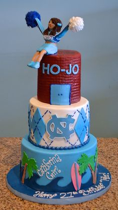 UNC Chapel Hill RA Cheerleader Birthday Cake Sugarland Raleigh Chapel Hill