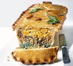 Layered squash, barley & spinach pie  (vegetarian)