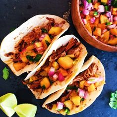 Spicy Coca Cola Pulled Pork Tacos with Peach Salsa - Ally's Cooking