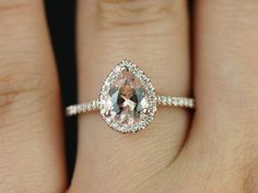 Rosados Box Tabitha 8x6mm Rose Gold Pear Morganite and Diamonds Halo Engagement Ring