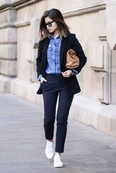 With denim shirt and white sneakers - Styleoholic