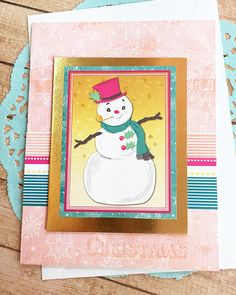 "Happy Snowman Season's Greeting Card, Gold Foil, Christmas, Holiday, Festive, Stripes, Snowflakes, Pink, Teal, Sparkle, Shine - 5"" x 6.5"" by PaperDahlsLLC on Etsy"