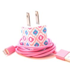 Pink and Blue Charm iPhone Charger with Color USB Cable Included on Etsy, $20.00
