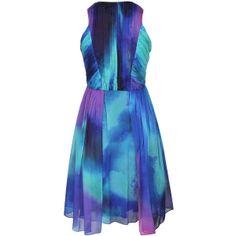 Matthew Williamson Blue Sleeveless Silk Dress ($720) found on Polyvore
