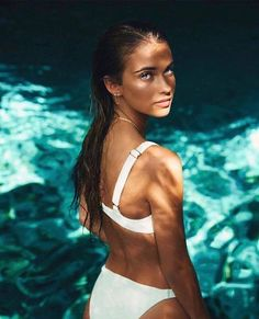 ZAFUL Women Padded Scoop Neck 2 Pieces Push Up Swimsuit Revealing Thong Bikinis V Bottom Style Brazilian Bottom Bra Sets Bikini Modells, Daily Bikini, Bikini Beach, Bikini Girls, White Bikini Set, Mädchen In Bikinis, Summer Bikinis, Push Up Swimsuit, Swimwear Cover Ups