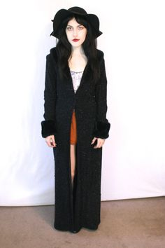 90s Black Duster with Faux Fur Collar / Goth by RadloveVintage, $50.00