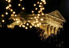 Christmas lights in Athens in front of Thisio - Temple of Hephaestus