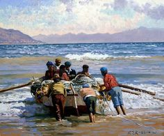 Roelof Rossouw Abstract Landscape Painting, Landscape Paintings, Sea Pictures, African Paintings, Boat Painting, Realistic Paintings, Watercolor Artists, Fishing Boats, Fine Art