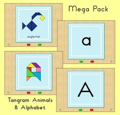 Save money by purchasing this Tangram Alphabet Mega Pack!  This pack contains lots of fun tangram activities. These are great to go with a math unit, as well as a reading / writing unit.  The Mega Pack includes all 5 Animal Alphabet Tangram sets I have in my store (Tangram Animal Alphabet, Word Wall Letters - Animals, Word Wall Letters - Alphabet, Animal Flash Cards and Alphabet Flash Cards) plus an extra MP4 Video with the Alphabet Song.