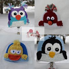 This pattern is fun for the whole family!! Includes instructions for all 4 designs, Cardinal, Owl, Duck, & Penguin