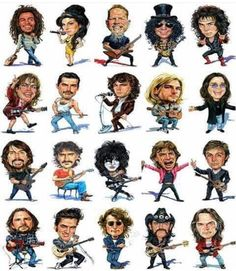 Rock out to this awesome running playlist on your next run ! Includes some great Aussie bands. Rock And Roll Bands, Rock N Roll, Celebrity Caricatures, Funny Caricatures, Heavy Metal Music, Rock Posters, Pop Rocks, Belle Photo, Music Bands