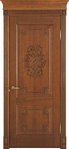 Solid oakwood door with decor.