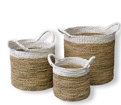 Seagrass Basket SET OF 3 White RIM Woven Natural With Handles POT Cover Storage | eBay