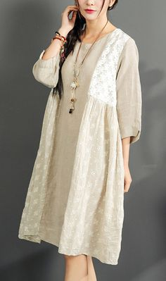 Fine summer oversize dresses linen print sundress long sleeve vintage dress ed968fa9b