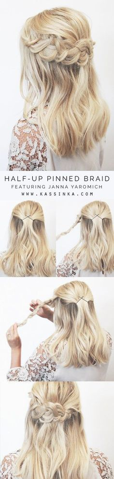 Half-up Pinned Braid Hair Tutorial For Shorter Hair (Hair Tutorial Ponytail) Step By Step Hairstyles, Braided Hairstyles Tutorials, Trendy Hairstyles, Curly Haircuts, Layered Hairstyles, Black Hairstyles, Girl Hairstyles, Hairdos, Vintage Hairstyles