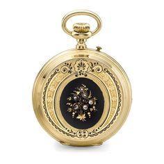 Paul Roch, Genève A YELLOW GOLD AND ENAMEL HUNTING-CASED KEYLESS LEVER WATCH CIRCA 1890 NO 29906 • nickel lever movement, 15 jewels, bi-metallic balance, index regulator, hinged gold cuvette • engraved silvered dial with applied gilt foliate centerfield and outer ring, Roman numerals, subsidiary seconds • 18k yellow gold case, front with black enamel diamond-set central panel, surrounded by engraved arabesques, similar enamel decoration to the back with butterfly and flower engraving to the…