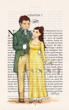 Northanger Abbeys - Catherine Morland and Henry Tilney - Jane Austen Literary Characters, Movie Characters, Altered Books Pages, Castle On The Hill, Jane Austen Novels, Becoming Jane, Book Page Art, Pride And Prejudice, Period Dramas