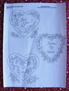 Six pretty hearts combine with flowers to make beautiful Valentine's Day Designs.  Embroider in RedWork on Tea Towels with red stripes around the edges.  The hearts can also make lovely sachets and pin cushions too!