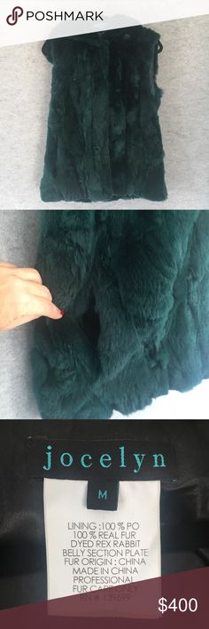 Green dyed Rabbit fur hooded vest 100% real rabbit fur dyed green hooded vest. It's like a cozy blanket. It's practically new! Used once because I bought the wrong size. Four clip hoop closures. Side pockets. Lined in black. jocelyn Jackets & Coats Vests