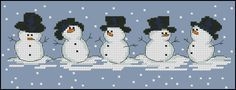 Free cross-stitch pattern Snowmen Fabric: Aida 14, Blue 127w X 46h Stitches Size(s): 14 Count, 23.04w X 8.35h cm