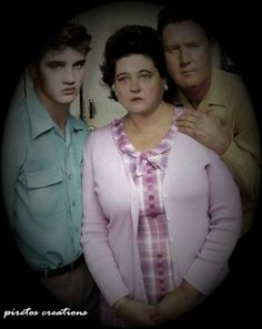 Elvis, Gladys, Vernon Presley His mother looks so sad in all her pictures