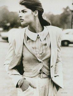 Linda Evangelista for Vogue US, December 1987. Photography by Peter Lindbergh