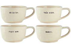 Asst of 4 Cafe au Lait Mugs on OneKingsLane.com - AJ would love!