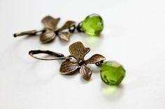 Olivine Glass & Orchid Earrings for women by adairya2 on Etsy, $14.00