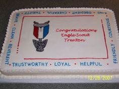 Eagle Scout cake  I found this here on cc and thought one of these days I will have to make it and what do you know, I had a lady wanting 2 Eagle scout cakes. I was so excited. I will post the other one next. White with all bc icing.