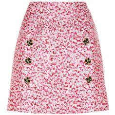Dolce & Gabbana Metallic Brocade Skirt (4.410 BRL) ❤ liked on Polyvore featuring skirts, pink, pink skirt, dolce gabbana skirt, metallic skirts and brocade skirt