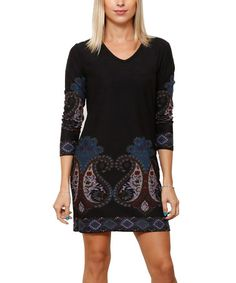 Loving this Teal & Burgundy Paisley V-Neck Sweater Dress on #zulily! #zulilyfinds