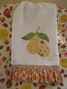 appliqued pear towel