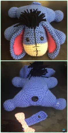 Crochet Amigurumi Eeyore The Donkey Free Pattern - #Crochet Amigurumi Winnie The Pooh #toy Free Patterns by Allie Armstrong